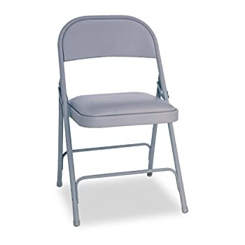 Alera ALEFC94VY40LG Steel Folding Chair With Two Brace Support, Padded  Seat, Light Gray