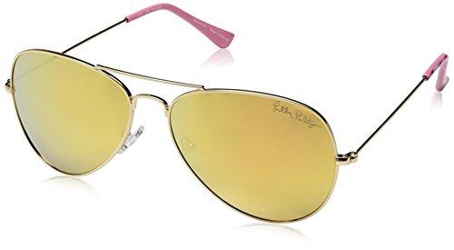 Lilly Pulitzer Women's Lexy Polarized Aviator Sunglasses, Shiny Gold/Playa Hermosa, 59 - Sunglasses Custom Print