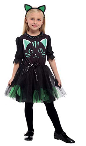 Brcus Kids Girls Cat Halloween Costumes Witch Role Play Cosplay Fancy Dress Large(for Height 120-130cm)]()