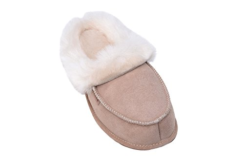 Rusnak Womens Luxury Genuine Sheepskin Soft Slippers Shoes With Warm Wool Lining Beige/White axeACjWrj