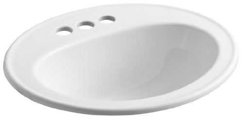 Depth Kohler Bath Sink - KOHLER K-2196-4-0 Pennington Self-Rimming Bathroom Sink, White