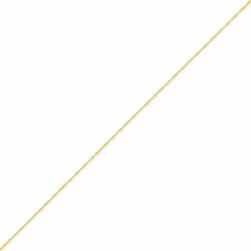 14k Gold Solid Diamond-cut Singapore Chain Necklace with Spring Ring (0.9mm) - Yellow-Gold, 24 in (Gold Chain Yellow Spiga)