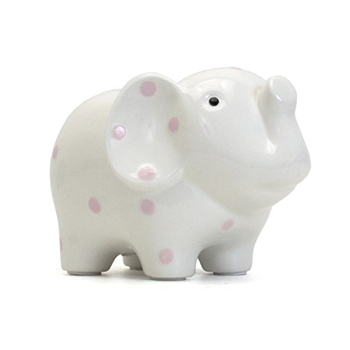 Child to Cherish Ceramic Elephant Piggy Bank for Girls, Pink Polka Dots ()