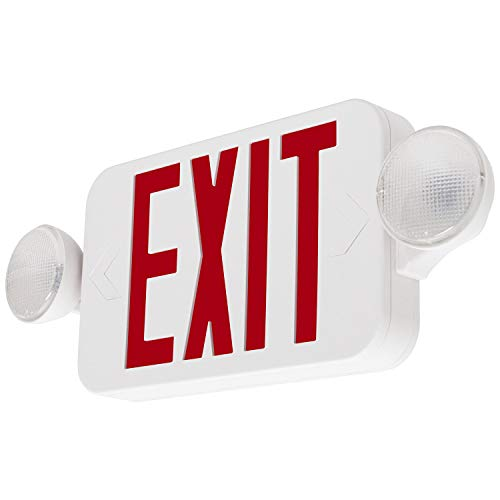 (LFI Lights - UL Certified - Hardwired Red Compact Combo Exit Sign Emergency Egress Light - COMBORJR)