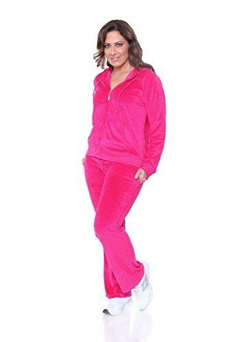 Plus Size Velour Suit - WM Plus Size Velour 2 Piece Set (Fuchsia, 3X)