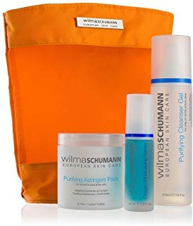 - WILMA SCHUMANN Oily and Acne Prone Skin Kit - Purifying Facial Cleanser Gel, Oxygen Moisturizing Serum, Purifying Astringent Pads