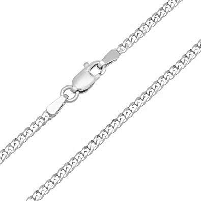 14K Gold 3.5MM Cuban/Curb Link Chain Necklace- Made in Italy- Multiple Lengths available-Yellow, White Or Rose Gold (White, 22) by PORI JEWELERS (Image #2)