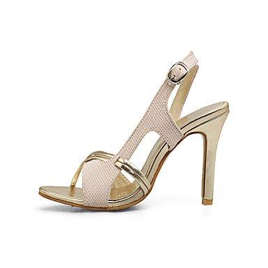LvYuan Mujer Sandalias Confort PU Verano Vestido Confort Hebilla Tacón Stiletto Dorado Negro Plata Rosa 10 - 12 cms Gold
