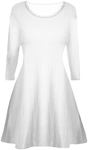 Girls Plain Long Sleeve Stretchy A Line Skater Girls Swing Dress Top 5-14 Years