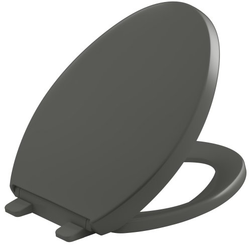 KOHLER K-4008-58 Reveal Quiet-Close with Grip-Tight Bumpers Elongated Toilet Seat, Thunder Grey