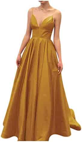 766f2ff18a9 XJLY Women s Simple Spaghetti Straps A-line Long Prom Dress V Neck Evening  Gowns with