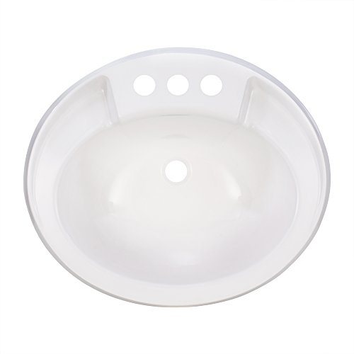 (RecPro Oval RV Bathroom Sink | White | Single Bowl Lavatory Sink | Camper Sink | 20x17 | Plastic )