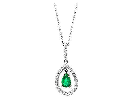 Birgie Diamants et Bijoux - Pendentif Emeraude Poire et Diamants-Femme- or Blanc 201P0057