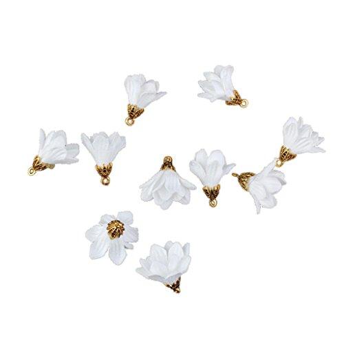 SunniMix 10pcs 27mm Flower Tassel For Keychain Cellphone Fabric Flower Tassel Charms - ()