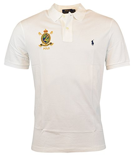 Polo Ralph Lauren Mens Classic Fit Mesh Crest Logo Polo Shirt - XL - White