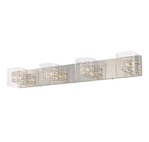 077 Bath Lighting (George Kovacs P5804-077, Jewel Box Glass Wall Vanity Lighting, 4 Light Halogen, Chrome)