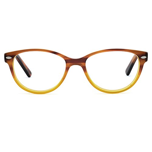 (OCCI CHIARI Fashion Optical Glasses Oval Acetate Eyewear Frame with Spring Hinge and Clear Lens for Women 50mm (Yellow)