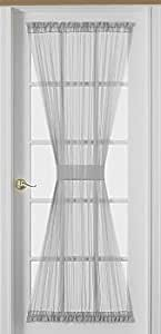 Sheer Voile 72-Inch French Door Curtain Panel, White