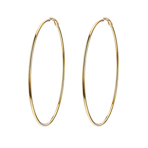 Gold Hoops Earrings Statement Big Wire Earrings 18K Plated Simple Hoop Earrings Large Thin Circle Endless Earrings for Women