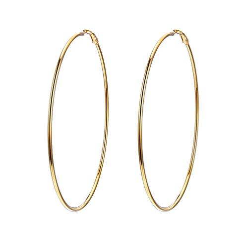 Gold Hoops Earrings Statement Big Wire Earrings 18K Plated Simple Hoop Earrings Large Thin Circle Endless Earrings for Women