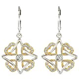 Rhodium Plate Sterling Silver and Yellow Gold Plate 'Faith, Family, Friends and Love' Pave Heart Earrings