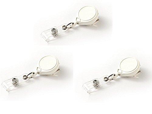Retractor Clip Mini (Key-Bak Mini-Bak Retractable Reel with 36 inch Nylon Cord, Swivel Bulldog Clip and Vinyl ID Strap, White - (Pack of 3))