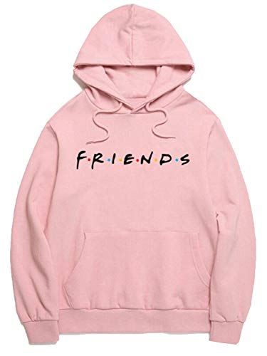 Womens Pink Loose Friends Hoodie Cotton Blend TV Show Hooded Sweashirt Pullover Tops s ()