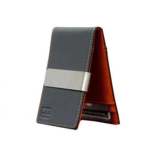 F&H Minimalist Slim Leather Wallet Money Clip Holds 8 Cards (Charcoal/Rust)