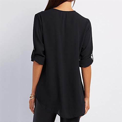 Manches Longues Col Femme Noir Zipp Blouse Chemisier Top Mousseline V Mode HuaYang Tunique gwEOHTq