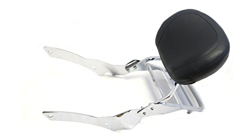 Mutazu Backrest Sissy Bar w/ Luggage Rack for Yamaha V Star 650 Custom - Sissy Pad 11 Bar Inch
