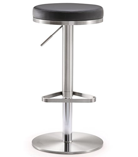 Tov Furniture The Fano Collection Adjustable Height Backless Swivel Stainless Steel Metal Industrial Bar Stool, Black
