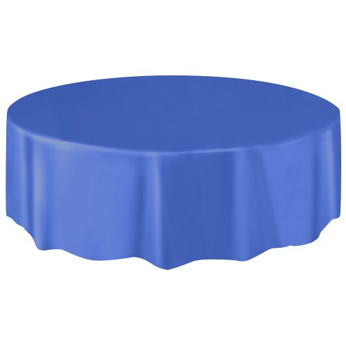Round Plastic Tablecloth Royal Blue