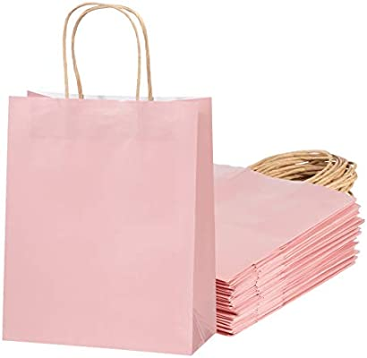 Amazon.com: Bolsas de regalo de color rosa – Bolsas de papel ...