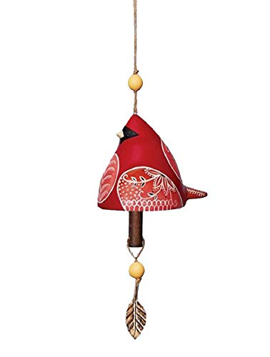 Studio M Cardinal Bird Beautiful Unique and Vibrant Ceramic Bell Wind Chime