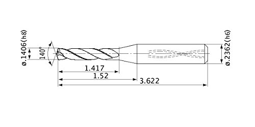 6 mm Shank Dia. 5 mm Hole Depth Mitsubishi Materials MVS0357X05S060 MVS Series Solid Carbide Drill 3.572 mm Cutting Dia 0.7 mm Point Length Internal Coolant