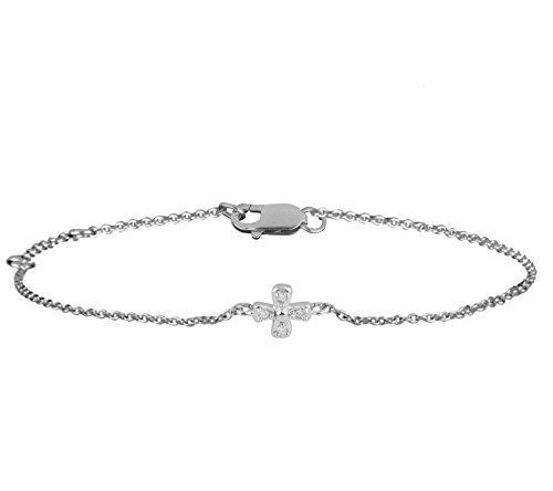 Or Blanc 9 ct Bracelet Diamant, 0.02 Ct Diamant, GH-SI, 1.52 grammes.