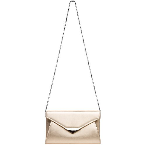 TA363 with Clutch Elegant Rose and Gold Evening CASPAR Bag Metal Decor Chain Ladies Envelope 0UwtIdq