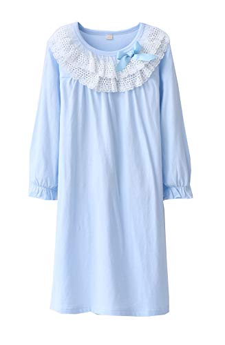 Wsorhui Little Girls Princess Nightgown Cotton Lace Bowknot