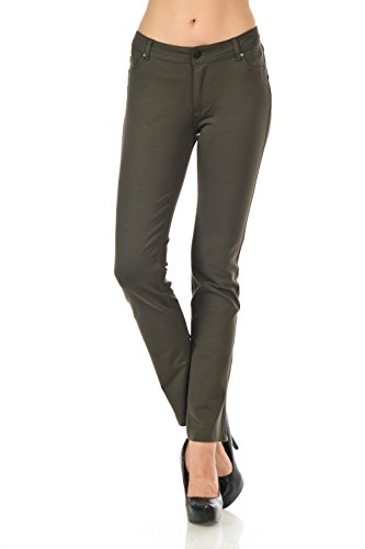 YourStyle Stretchy Slim Fit Skinny Long Jegging Pants (X-Large, Olive)