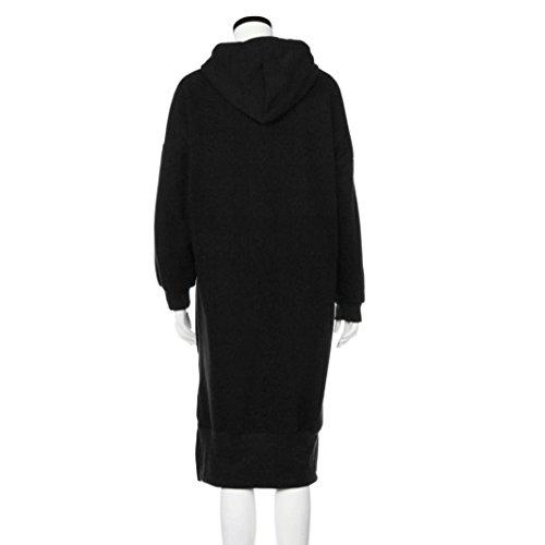 Women Blouse, Neartime Women Casual Hood Sweatshirt Hooded Ladies Long Pullover Tops (L2, Black) by NEARTIME (Image #3)