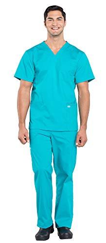 Pocket 2 V-neck Cherokee Scrub (Cherokee Workwear Professionals Men's 4 Pocket V-Neck Scrub Top WW695 & Men's Drawstring Cargo Scrub Pants WW190 Medical Uniforms Scrub Set (Teal Blue - Medium/Medium Tall))