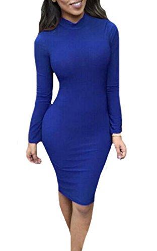 Lunga Sexy Blu Vuoto Manica Aderente Indietro Vestito Clubwear Donne Cruiize Solido qpPFAT