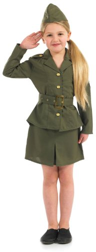 Costumes 1940 Army (Party On Fancy Dress Big Girls' Ww Army Fancy Dres Costume Age 6-8 Years)