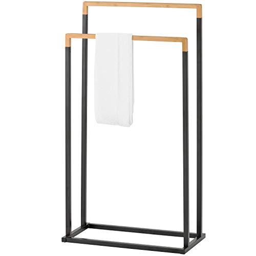 MyGift Freestanding 2-Tier Black Metal and Bamboo Towel Bar Rack