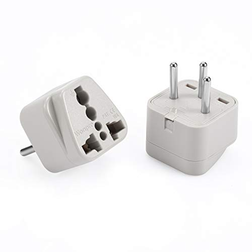 Wonpro Israel Travel Plug Adapter (Type H, Grounded) - CE Certified - 2 Pack