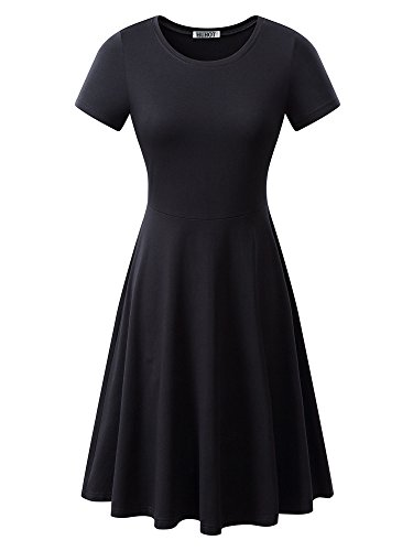 Women Short Sleeve Round Neck Summer Casual Flared Midi Dress Large Black