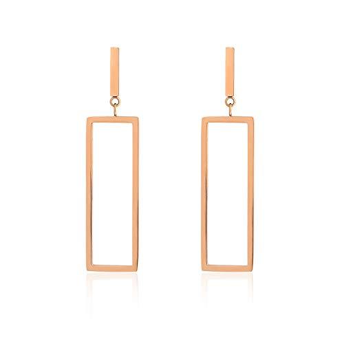 Rectangle Shape Earrings (uPrimor 18K Rose Gold Plated Stainless Steel Rectangle Dangle Drop Earrings for Women and Girls, 49mm long)