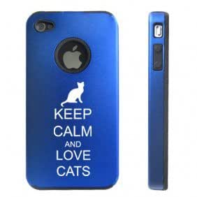 Apple iPhone 4 4S Blue D5574 Aluminum & Silicone Case Cover Keep Calm and Love Cats
