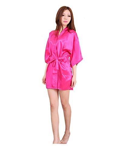 Surenow Pijama Albornoces Vestido de Baño Kimono para Mujer rosa oscuro