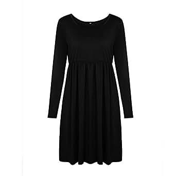 JIANLANPTT Women Long Sleeve Empire Waist Midi Dress Casual Solid Loose Swing Dresses Black S(US0-2)